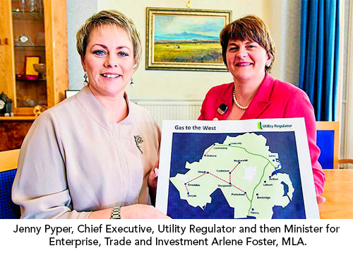 Jenny Pyper, Chief Executive, Utility Regulator and then Minister for Enterprise, Trade and Investment Arlene Foster, MLA.